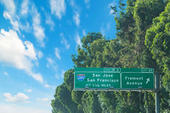 280 da uno stato all'altro firmano dentro la California Fotografia Stock Libera da Diritti
