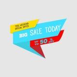 Da venda bandeira grande da oferta especial hoje, até 50% fora Ilustração do vetor Sinal total colorido da venda Etiqueta vermelh Imagem de Stock Royalty Free