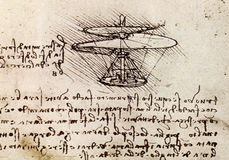 Da Vinci drawing. Sketch for an helicopter project by Leonardo Da Vinci