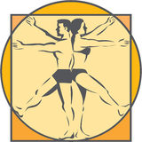 Da Vinci Male Female Side Arms Legs Line Drawing Retro. Line drawing style illustration on the Da Vinci man Vitruvian Man male female standing back to back with Stock Photos