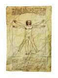 Da Vinci's Vitruvian Man. Photo of the Vitruvian Man by Leonardo Da Vinci from 1492. Clipping path included stock photography