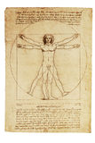 Da Vinci's Vitruvian Man. Photo of the Vitruvian Man by Leonardo Da Vinci from 1492 royalty free stock images