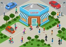 Da Web 3d lisa local da venda da rua da loja da construção de loja conceito infographic isométrico ilustração stock