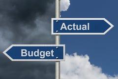 Daadwerkelijk tegenover wat in de begroting op werd genomen Royalty-vrije Stock Fotografie