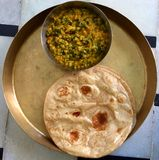 Daal palak vegetable chapati Royalty Free Stock Photo