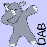 Dab dabbing pose rhino kid cartoon vector illustration
