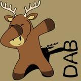 Dab dabbing pose deer kid cartoon vector illustration
