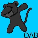 Dab dabbing pose panther kid cartoon vector illustration