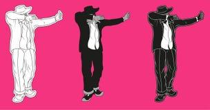 Dab gesture dance. Dab dabbing gesture sign dance dancing man vector illustration