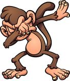 Dabbing brown cartoon monkey Stock Photography