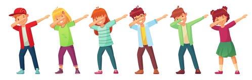 Dabbing dzieciaki Nastolatkowie w odrobina tanu pozują, szkolnego dzieciaka dancingowy występ i nastolatek robi odrobiny kreskówk ilustracji