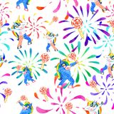 Dabbing unicorn seamless pattern. Seamless pattern of dabbing unicorn, fireworks and sugar candies. Handmade watercolor vector illustration