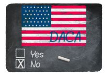 DACA No concept using chalk on slate blackboard. DACA No Vote message written in chalk on a chalky natural slate blackboard for current debate over Dreamers Royalty Free Stock Image