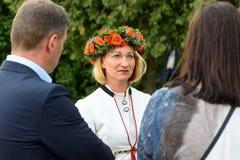 Dace Melbarde minister av kultur av Lettland royaltyfria bilder