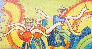 Dachówkowa ścienna uliczna sztuka Obraz Royalty Free