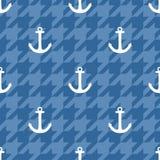 Dachówkowy żeglarza wektoru wzór z biel kotwicą na błękitnym houndstooth tle royalty ilustracja