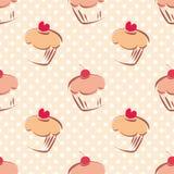 Dachówkowy babeczki i polki kropek wzór Fotografia Royalty Free