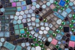 Dachówkowy i kamienny mozaiki tło z teksturą Obrazy Royalty Free