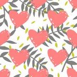 Dachówkowy tropikalny wektoru wzór z egzotów liśćmi i różowymi sercami na białym tle royalty ilustracja