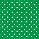 Dachówkowy wektoru wzór z białymi polek kropkami na mennicy zieleni tle ilustracji