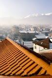 Dach über Bansko Skimitte in Bulgarien lizenzfreies stockbild