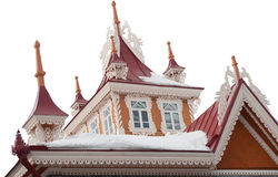 Dach des alten schönen hölzernen buildng lizenzfreie stockfotografie