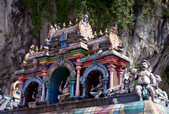 Dach des hinduistischen Tempels, Batu höhlt, Kuala Lumpur aus stockfotografie