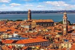 Dach i góruje Wenecja z wierzchu San Marco dzwonnicy obrazy stock