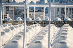 Dach olimpijski stadium na pejzażu miejskiego tle w Kyiv, Ukraina fotografia stock