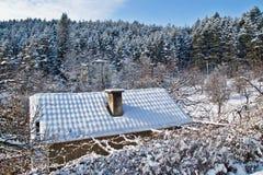 Dach, Schnee anf Wald im Winter Stockfotos