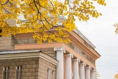 Dach teatru budynek z kolumnami, gałąź z złotymi liśćmi jesienią zbliżenie kolor tła ivy pomarańczową czerwień liści Obraz Stock
