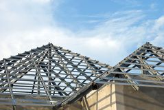 Dach und Wandstruktur des Hauses Stockbild