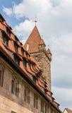 Dach von Nürnberg-Schloss im Bayern Stockbild