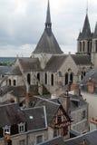 Dach von St-Nicolas-Kirche in Blois Stockbilder