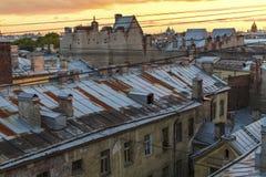 Dach von St Petersburg während der berühmten weißen Nächte gehen Lizenzfreie Stockfotografie