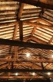 Dach z promień okładzinowymi cegłami i fluorowiec lampami Zdjęcia Royalty Free