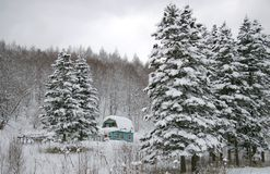 Dacha- lodge in winter Stock Photo
