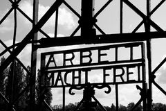 Dachau concentration camp gate. On monochrome Stock Photo