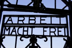 Dachau Concentration Camp Memorial Site. Arbeit Macht Frei, `Work will make you free` on the KZ-Gedenkstaette Dachau, Dachau Concentration Camp Memorial Site Royalty Free Stock Photography
