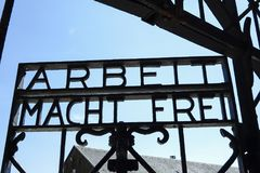 Dachau Concentration Camp Memorial Site. Arbeit Macht Frei, `Work will make you free` on the KZ-Gedenkstaette Dachau, Dachau Concentration Camp Memorial Site Royalty Free Stock Images