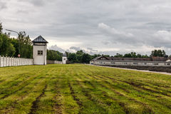 Dachau Concentration camp. Watchtower in the Dachau Concentration camp memorial Royalty Free Stock Image