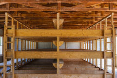 Dachau Concentration Camp, wooden beds Royalty Free Stock Photography