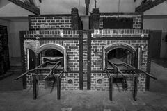 Dachau crematorium #2 in black and white. Stock Photo