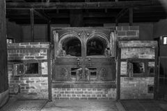 Dachau crematorium #1 in black and white. Vintage looking black and white photo of crematorium #1 at the Dachau concentration camp in Germany Royalty Free Stock Image