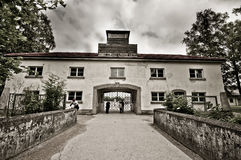 Dachau, Germany - July 30, 2015: Entrance to famous concentration camp from world war 2 Royalty Free Stock Photo