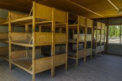 Dachau koncentracyjny obóz, drewniani łóżka Zdjęcie Royalty Free