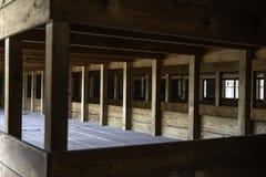 DACHAU: Dachau läger, den första koncentrationsläger i Tyskland under världskrig II, historiska byggnader och utomhus- fält i läg fotografering för bildbyråer
