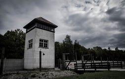 DACHAU, NIEMCY Dachau Koncentracyjnego obozu Nazistowska wieża obserwacyjna obraz royalty free