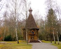 Dachau, Upper Bavaria / Germany - March 2018: The Russian-orthodox Memorial Chapel nestled among the trees at the Dachau Concentra stock photo