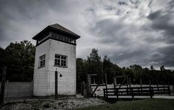DACHAU, Wachturm DEUTSCHLANDS Dachau Nazi Concentration Camp lizenzfreies stockbild